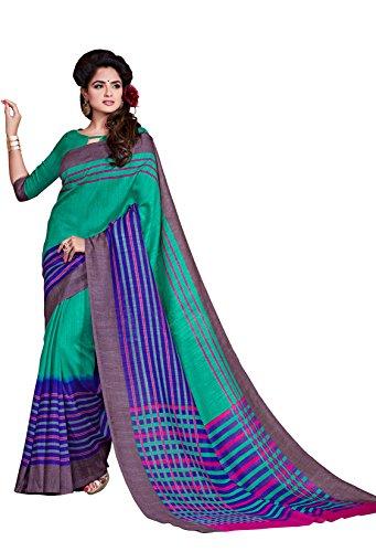 Classic Enterprise Sarees Daily Wear Stripe & Geometric Print Multi-Color Cotton Sari With Blouse (Malgudi-4376)