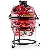 Klarstein Princesize Kamado-Grill Smoker (Keramik-Wandung, Innen-Thermometer, mit Deckel, Edelstahl-Rost, große Grillfläche) rot