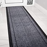 The Rug House Grey Rubber Backed Very Long Hallway Hall Runner Narrow Rugs Custom Length - Sold and Priced Per Foot 9ft