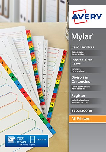 Avery 05197501 Intercalaires en carte mylar A4+ 6 touches neutres Couleurs Assorties