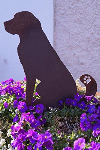 Edelrost Hund 21 cm groß zum Stecken Gartendekoration Pflanztopf Metall Topfstecker