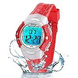 Reloj Digital Infantil, 7 Colores de luz LED, Resistente al Agua, Reloj Digital con Alarma/Temporizador, Reloj de Pulsera para niños para Actividades al Aire Libre, para niñas, Rojo