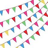 50M corde Oxford rouge Fanions, guirlandes de tissu en nylon avec 100 drapeaux de triangle de PCs, Fanion multicolore pour activités de plein air et d'intérieur, anniversaire, mariage décoration