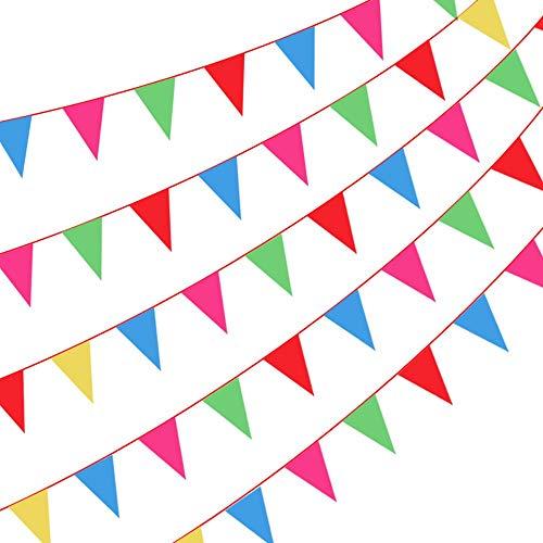 Cojoy 50M rot Runde Seil Wimpelkette, Nylon Stoff Wimpel mit 100 Stück Dreieck Flaggen, Mehrfarbig Flag Banner für Outdoor Indoor Aktivität, Geburtstag, Hochzeit, Babydusche Party Dekoration - Outdoor-flagge