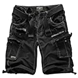 Geographical Norway Cargo Pantaloncini pantaloncini corti bermuda con Cintura breve HUNTER IM Bundle con UD Bandana - Nero, L