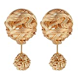 Piersando Damen Ohrringe Ohrstecker Two Way Stecker mit Doppel Kugeln Ball Perlen Geflochten Rosegold