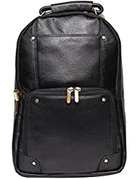High Touch Leather 18 Inch Leather Laptop Backpack Bag For Men And Women (Color Black)
