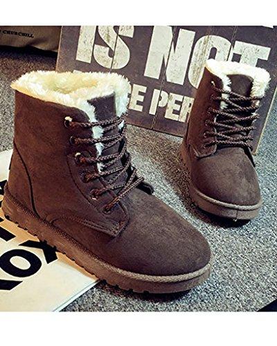Minetom Donna Lace Up Pelliccia Neve Stivali Autunno Inverno Calzature Female Sneaker Moda Marrone