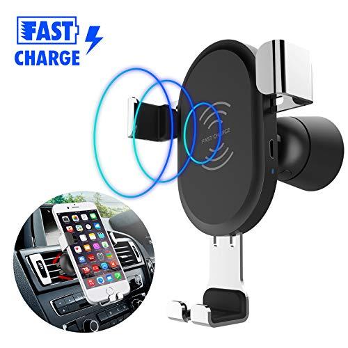 JASZW Schnelle Ladegerät Qi Wireless Car Phone Mount Halter Ladestation für Samsung & iPhone und alle Qi-fähigen Geräte Motorola Base