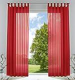 2er-Pack Gardinen Transparent Vorhang Set Wohnzimmer Voile Schlaufenschal mit Bleibandabschluß HxB 245x140 cmRot, 61000CN