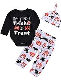 Logobeing Ropa Bebe Niñas Halloween Camisetas de Manga Larga y Pantalones con Pumpkin Prin + Gorra Juego de Ropa Conjuntos de Ropa
