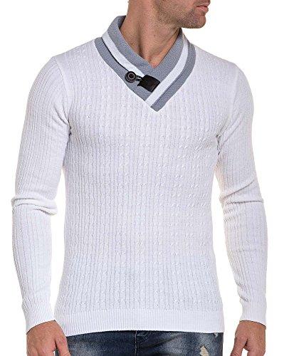 BLZ jeans - Pull homme côtelé maille tricot blanc col châle gris Blanc