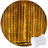 Curtain Light,CORST® 2M x 2M Warm White Curtain Fairy Lights Waterfall Window Light Icicle Fairy Lights,204 LED,8Modes, Safety Voltage For Party Indoor Outdoor Room Wall Xmas Wedding Dec
