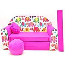 WELOX h9 KindersofaBettfunktion3in1-Kindersessel,Ausziehbett,rosaElefanten, Eierschalenfarbe