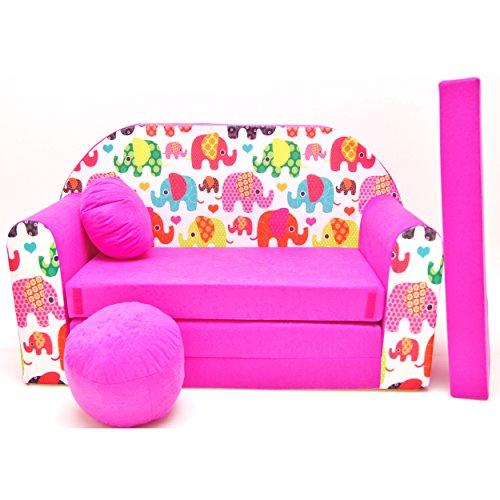 Preisvergleich Produktbild WELOX h9 KindersofaBettfunktion3in1-Kindersessel,Ausziehbett,rosaElefanten, Eierschalenfarbe