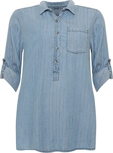 WearAll Women's Plus Striped Baggy Denim Shirt Ladies Long Sleeve Button Collar Dip Hem 16-26