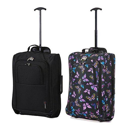 Set von 2 Leichtgewicht Handgepäck Kabinengepäck Flugtasche Koffer Trolley Gepäck (Schwarz + Schmetterlinge Marine)