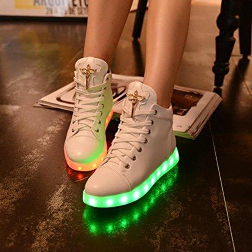 [Présents:petite serviette]JUNGLEST® 7 Couleur Mode Unisexe Homme Femme USB Charge LED Lumière Lumineux Clignotants Chaussures de ma c32