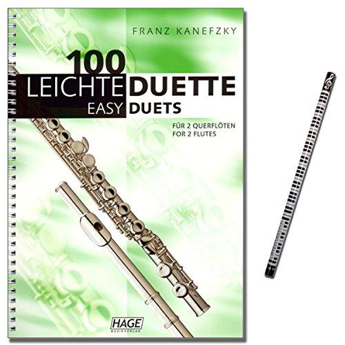 100 Leichte Duette für 2 Querflöten - Notenbuch in C - eine tolle Sammlung von 100 sehr leichten bis leichten Duetten - Autor: Franz Kanefzky - mit Musik-Bleistift