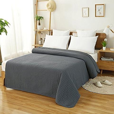 WOLTU® 220x240cm Couverture dessus de lit flannel Jeté de lit couvre-lit matelassé,BWP5004gr2-a Gris