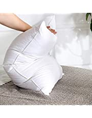 NATUFAB Imported 7 Star Hotel Super Soft Top Class Number 1 Orthopedic Double Pocket White Goose Down and Feather 1 Pc Pillow + Cotton Striped 1 Pcs Pillow Cover (Set of 2, 17 x 27 Inches)
