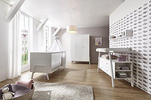 Schardt 11 915 02 02 Kinderzimmer 3 - teilig Holly White bestehend aus Kombi - Kinderbett, 70 x 140 cm -