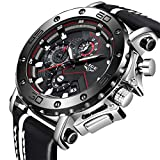 LIGE Reloj para Hombre Cronógrafo A Prueba De Agua Moda Militar Reloj Deportivo Reloj De Cuarzo Reloj Analógico Reloj para Hombre Luminoso Plata Negro