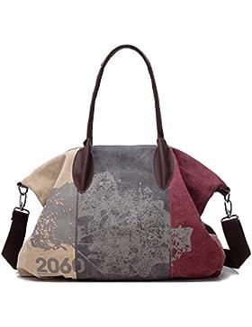 Gurscour Damen Handtasche Vintage Umhängetasche Canvas Retro Schultertasche 32cmx43cmx16cm