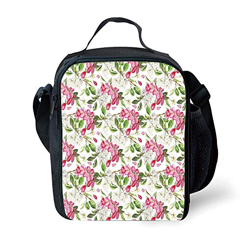 ZKHTO School Supplies Watercolor Flower,Floral Background with Pretty Irises in Fresh Colors Nature Earth Spirit,Lilac Teal Ecru for Girls or Boys Washable Zaini e borse sportive