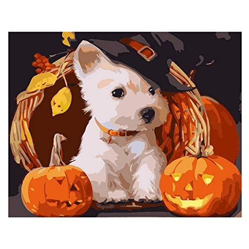 ZYCD DIY Ölgemälde, malen nach Zahlen Kits digitales Geschenk Ölgemälde Leinen Tier Set Wohnzimmer Dekoration Kürbis Lampe neben dem Hund mit einem Hut(40*50cm/16*20inches)