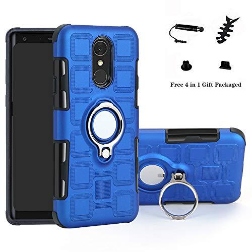 LFDZ LG Q7 Hülle, 360 Rotation Verstellbarer Ring Grip Stand,Ultra Slim Fit TPU Schutzhülle für LG Q7 / Q7 Plus / Q7 Alpha Smartphone(Nicht für LG Q6),Blue