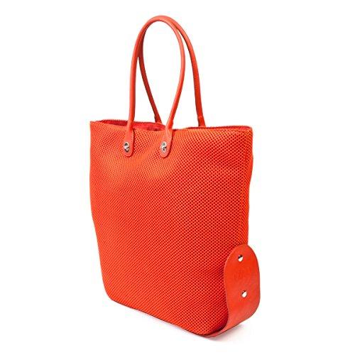 ONE BAG Handtasche SHOPPER mit wechselbaren Henkeln und Magnetverschluss ist klein zusammenfaltbar mit einzigartigem Druckknopfsystem Schwarz