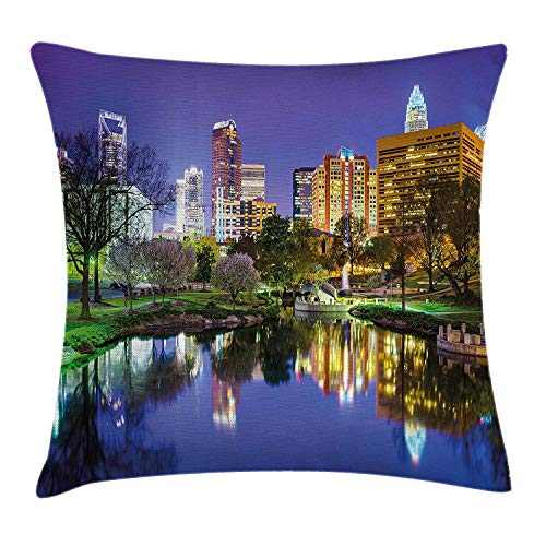 MLNHY City Throw Pillow Cushion Cover, North Carolina Marshall Park United States American Night Reflections on Lake Photo, Decorative Square Accent Pillow Case, 18 X 18 inches, Multicolor -