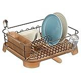 mDesign support à vaisselle en métal et plastique - panier égouttoir avec bec verseur pivotant - égouttoir design pour un plan de travail sec - bronze