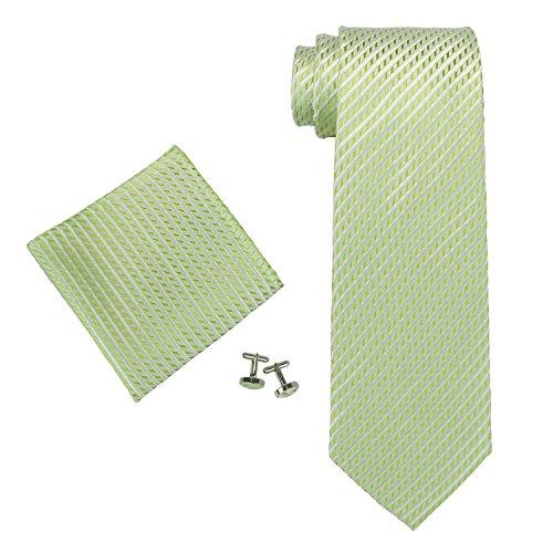 Landisun 653 Feststoffe Männer Seide Krawatten Set Hell Grün, 59