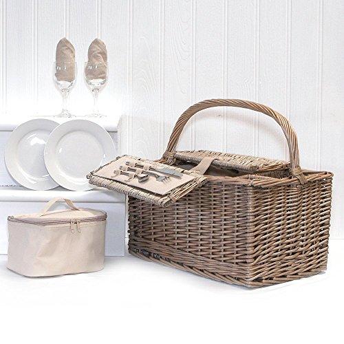 """2 Persona """"Country Deluxe"""" Lidded Hamper Cesta de picnic con accesorios incluyendo Chiller Bag - Ideas de regalos para cumpleaños, bodas, aniversario y corporativos"""