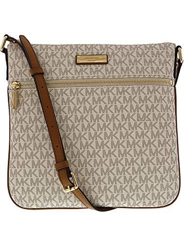 Signature Damen Leder Tasche (Michael Kors Bedford Signature Flat Cross-Body Bag - Vanilla - 32S7GBFC2V-150)