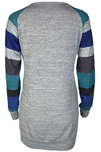 Vestito da collo rotondo delle donne di autunno e inverno Abito a righe lavorato a maglia grigio blu