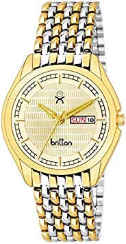 BRITTON Analogue Men's Watch (Gold Dial Gold Colored St