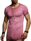 LEIF NELSON Herren T-Shirt Rundhals Ausschnit Sweatshirt Longsleeve Basic Shirt Hoodie Slim Fit LN8226; M, Bordeaux