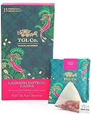 TGL Kashmiri Kahwa Green Tea, 16 Tea Bags (15 Tea Bags + 1 Free Exotic Sample)