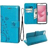 Teebo Hülle für ASUS Zenfone 4 Max ZC554KL Schutzhülle aus PU Leder Handyhülle mit geprägtem Schmetterling-Muster Kartenfach und Magnetverschluss Blau