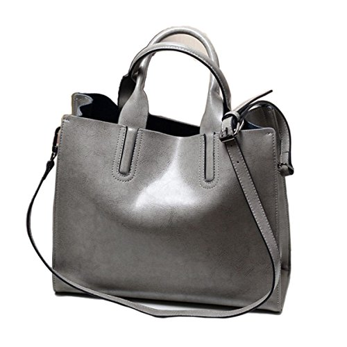 Borsa Shopping Bag In Pelle A Olio Retro Cerata Donna Retrò Borsa A Tracolla Da Donna Borsa A Mano Messenger Bag Grey