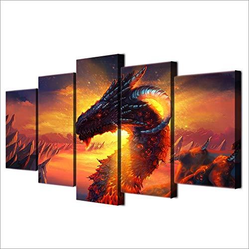 xzfddn Cartel De Decoración del Hogar HD Impreso Moderno Lienzo Salón Imágenes Pintura 5 Panel Dragón Anime Wall Art Modular