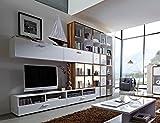 14-tlg. Wohnwand in Baltimore-Walnuss-Nb./weiß mit 2 Hängeelementen, 2 TV-Lowboards, 4 Regalen, 3 Türen, 3 Schubkasten-Sets, Maße: B/H ca. 353/238 cm