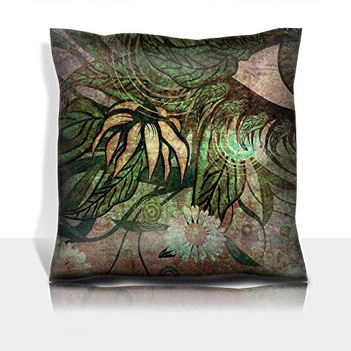 MSGDF Throw Pillowcase Cotton Satin Comfortable Decorative Soft Pillow Covers Protector Sofa 18x18 1 Pack Grunge surreal Female Eye with Green Leaves and Colorful ()