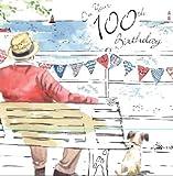 twizler Happy 100. Geburtstag Karte für Ihn mit Silber folieren und einzigartige Wasserfarben Effekt–Hund und Strand–100Jahre–Alter 100Geburtstag–Stecker Geburtstag Karte