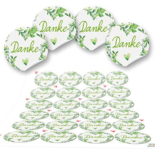 fkleber rund grün hellgrün weiß DANKE Herz 4 cm Geschenkaufkleber Etiketten Sticker - Hochzeit Taufe Kommunion Geburtstag Gastgeschenk give-away Deko Fest Verpackung Mitgebsel ()