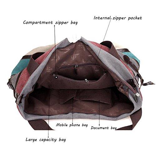 Frauen-Segeltuch-Schulter-Beutel-Art Einfache Splicing-Paket Europa Nationale Handtasche Diagonal Tasche A