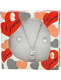 Guess, UBS11103, set di gioielli e orecchini da donna, set di gioielli in metallo argentato